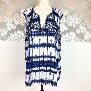 NYDJ Size 2X Moorea Embroidered Top Blue White